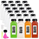 24 Pack Empty Plastic Juice Bottles Food Grade Reusable PET Clear Water Bottle Recyclable Drink Bulk Containers with Leak-Proof Lids for Juice, Water, Milk and Beverages (12oz)