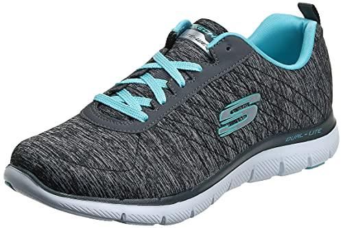 Skechers womens Flex Appeal 2.0 Sneaker, Black/Blue, 8 US