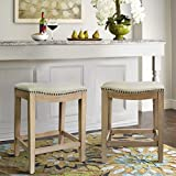 Barton Premium Set of (2) Isabel Padded Counter Saddle Backless Indoor/Outdoor Bar Stool Nailhead (24' Height) Cushion Seat Footrest, Beige
