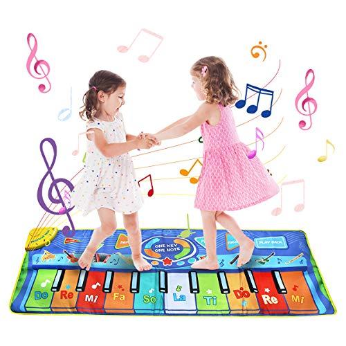 BelleStyle Tappeto Musicale, 130*48 cm Grande Tappeto Musicale per Bambini, Pianoforte Stuoia Tocco Tastiera Tappeto Giocare Coperta Musicale Tappetini Giocattoli Educativi per Bambini - Blu