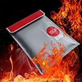 Fireproof Money Safe Document Bag 15' x 11' Non-Itchy Silicone Coated Fire Resistant Waterproof Money Bag Safe Storage for Money, Documents, Jewelry and Passport