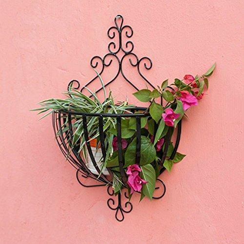 ZJM pots de fleurs (20 * 34 * 53cm) étagère de fleur rétro style terrasse salon intérieur et extérieur utilisation de fer étagère à fleurs à plusieurs étages (multi-couleur en option) Étagère de Pots de Fleurs ( couleur : Noir )