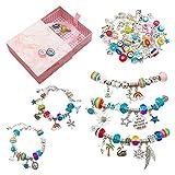WHATWEARS Kit de creación de joyas para niñas, kit de pulseras Fai-da-Te de 89 piezas con 68 colgantes diferentes con cuentas y 5 cadenas de cuentas de serpiente chapadas en plata