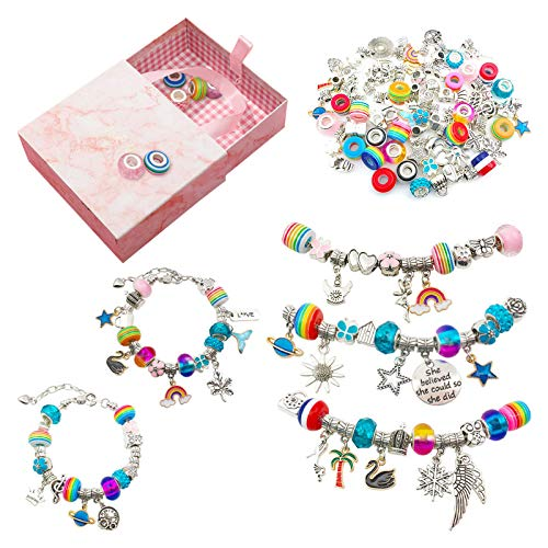 SupLetsico Charm Bracelet Making Kit, 89 Pieces DIY Jewellery Making Kits with 68 Different Beads & Pendants and 5 Silver Plated Snake Beads Chains, DIY Arts and Crafts Sets for Teenage Girls