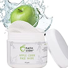 Apple Cider Vinegar Face Toner Pads - Witch Hazel,Tea Tree,Rose Geranium, Lavender. Tone, Reduce Blemish, Balance pH, Clear Pores & Acne Prone Skin, 60 pads. USA Made by Hello Cider