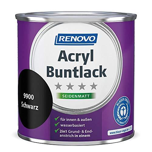 Acryl-Buntlack 2-in-1 375 ml RAL 9900 Schwarz seidenmatt Renovo