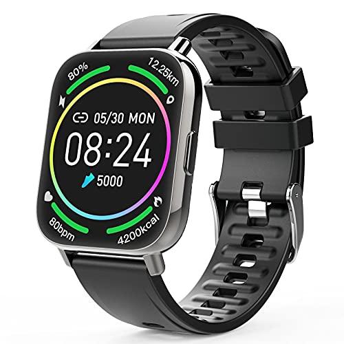 Judneer Smartwatch, 1.69 Zoll Voll Touch-Farbdisplay Armbanduhr mit Pulsuhr Fitness Tracker, IP67 Wasserdicht Smart Watch Android IOS mit Schlafmonitor, Sportuhr Schrittzähler für Damen Herren Watch