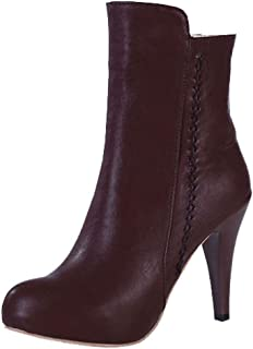 ELEEMEE Women Stiletto Almond Toe Martin Boots Zip