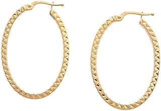 So Chic Joyas - Pendientes Creoles Ovalo Diamanteado Hilo Cuadrado 2 mm Oro Amarillo 375/000 (9 kilates)