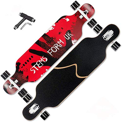 ZEH Lang Boards Skateboard, 41-Zoll-Longboard Skateboard Complete Skateboard Cruiser for Cruising, Carving, Freestyle und Downhill mit TTool, B FACAI (Color : A)