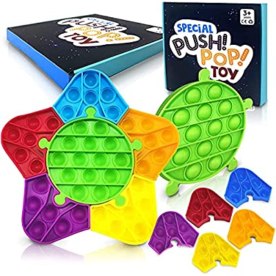 POP Fidget it Sensory Toys 6 PCS POP Push with Rainbow Pentagram Jigsaw Design, Newest Push & Pop Bubble Stress Reliever Toy for Kids, Adults & ADHD Autism Special Need, Non-Toxic Durable Silicone
