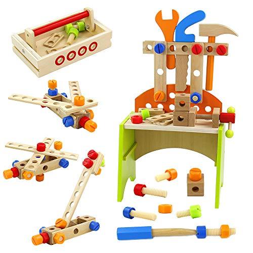 TONZE Werkbank Kinder Holz- Multifunktionale Kinder Werkzeugkasten Werkzeugkoffer mit Werkzeug Set Rollenspiele Konstruktionsspielzeug ab 3 4 5 6 Jahren Jungen Mädchen (67 Stück)
