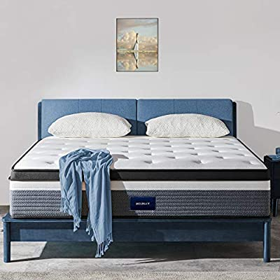 Queen Mattress, Molblly 14 inch Individually Wrapped Coils Innerspring Mattress, Pocket Spring Hybrid Mattresses-Medium Feels, Supportive & Pressure Relief