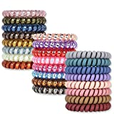 Spiral Hair Ties, V-Opitos 24Pack No Crease Hair Ties, Colorful Phone Cord Hair Ties, Hair Coils,Elastic Coil Hair Ties for Women Girls, Apply to Curly, Straight, Thick, Thin, Short, Long and Perfect for Any Hair Color