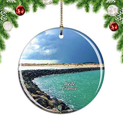 Weekino Frankreich FKK Strand Cap-d'Agde Weihnachtsdekoration Christbaumkugel Hängender Weihnachtsbaum Anhänger Dekor City Travel Souvenir Collection Porzellan 2,85 Zoll