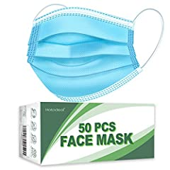 3 LAYERS FACE MASKS: Hotodeal masks are made of soft and skin-friendly non-woven fabric, which makes it breathable and comfortable to wear. BREATHABLE & COMFORTABLE: Disposable face masks' length is 6.8 inch, the width is 3.7 inch, with the metal adj...
