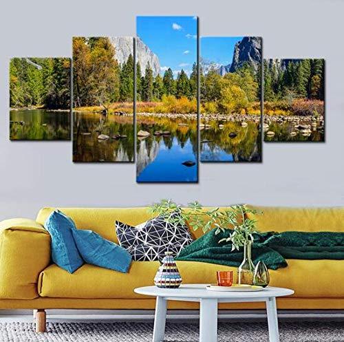 SSOOB Home Art marco de madera lienzo pared arte impresiones mural Paisaje natural del lago Mori 100x50 CM 5 lienzos Modern Canvas Wall Art 5 Piezas Pictures HD Impreso Cartel de Pintura para Sala de