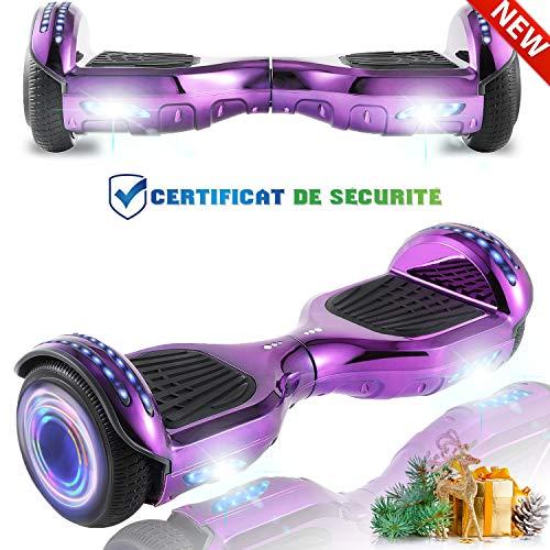 HST 6,5 Zoll Self Balance Board, Elektro Skateboard Elektroroller, Smart Self- Balancing Scooter Räder mit LED-Licht, Motor 350W*2 Bluetooth für Kinder und Erwachsene Chrom Lila