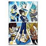 xiangpiaopiao Carteles E Impresiones Dragon Ball Art Prints Vegeta Dragon Ball Z Super Saiyan Pintura Goku Y Vegeta Poster Dragon Ball Home Decor 40X50Cm -Mg4155