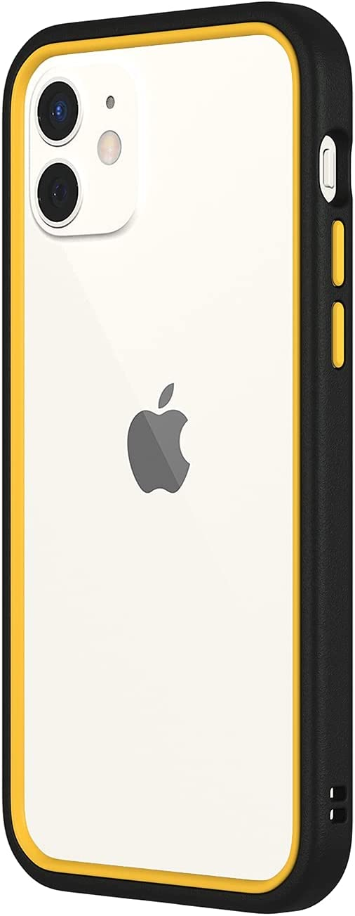 RhinoShield Bumper Case Compatible with [iPhone 12/12 Pro] | CrashGuard NX - Shock Absorbent Slim Design Protective Cover 3.5M / 11ft Drop Protection - Black/Yellow