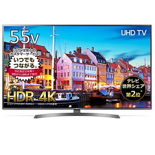 LG 55V型 4K 液晶テレビ エッジ型LED IPSパネル 2倍速相当 外付けHDD録画対応(裏番組録画) Wi-Fi対応 1ウェイ2スピーカー 20W 55UK6500EJD
