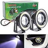 """TABEN 3200LM Projecteur Haute Puissance 3,5""""Universel Blanc LED Antibrouillard COB Blanc Halo Angel Eye Anneaux DRL Ampoules de Conduite DC 12V"""