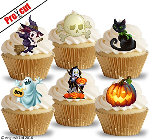 vorgeschnittenen Halloween Mix II. Hexe Gespenst Kürbis Totenkopf Cat essbarem Reispapier/Wafer Papier Cupcake Kuchen Topper Halloween Party Dekorationen