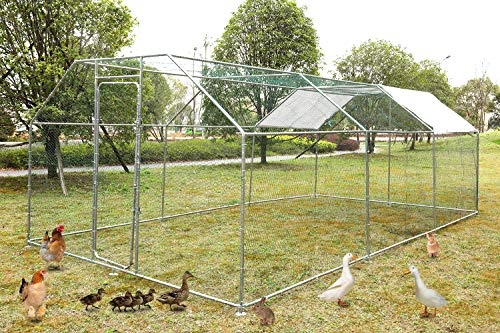GreenWorld Chicken Coop Metal Cage 19.7 x 9.8 x 6.56ft Chicken Rabbit Fence Pen Pet Playpen Enclosures with Waterproof & UV Protection Cover, Hen Run Duck House Outdoor Yard Walk-in Poultry Cage
