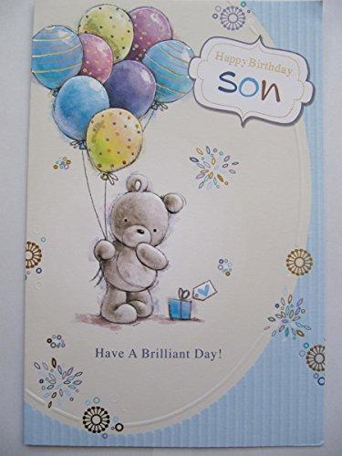 Große geprägt Cute Teddy & Ballons bunt Sohn Geburtstag Grußkarte