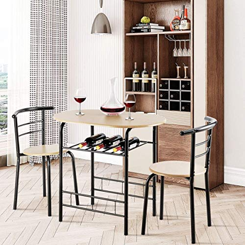 ARLIME 3-Piece Dining Table Set, 2 Chairs and Round Table Set with Iron Frame, Kitchen Breakfast Compact Table Set with Storage Shelf, for Small Space, Dining Room, Apartment, Pub, Bistro (Natural)