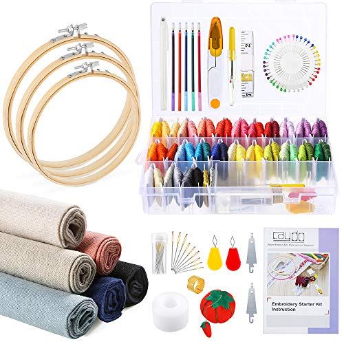 SANON Full Range of Embroidery Starter Kit Cross Stitch Kit Includes Embroidery Hoops 50 Colors Lines