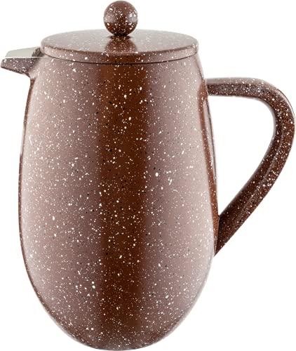 Café Olé BFD-08RG Doppelwandiger Bauchiger Kaffeebereiter aus hochwertigem Edelstahl – Rot Granit, para 8-Mokkatassen geeignet, 1L