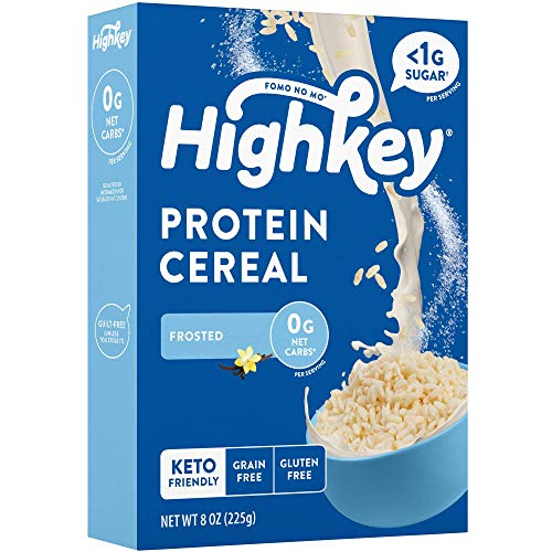 HighKey Protein Snacks - Keto Breakfast Cereal - 0 Net Carb & Zero Sugar, Grain & Gluten Free Cereals - Non GMO Food - Paleo, Diabetic, Ketogenic Diet Friendly Flakes - Healthy Grocery Foods - Frosted