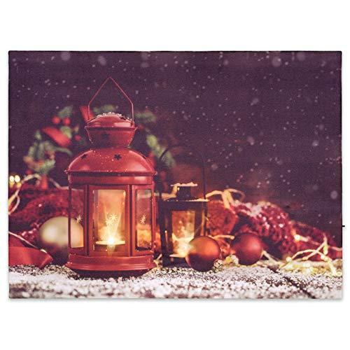 Nexos LED Wandbild Leinwandbild Beleuchtung 30x40cm X-Mas Laternen Fotodruck Kunstdruck Leuchtbild Weihnachten Batterie Winteridylle Effekt-LED Advent