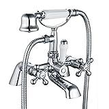 Funime 05 O Victoria Bath 1/4 Turn with Handheld <span class='highlight'><span class='highlight'>Bathroom</span></span> Shower <span class='highlight'><span class='highlight'>Tap</span></span>s Ceramic Dual Lever, Chrome