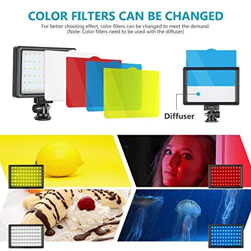 Neewer 2er Pack Beleuchtungsset für Fotografie tragbare dimmbar 5600K USB 66 LED Videoleuchte mit Mini Stativ und Farbfiltern für Foto-/Videostudioaufnahmen mit niedrigem Winkel