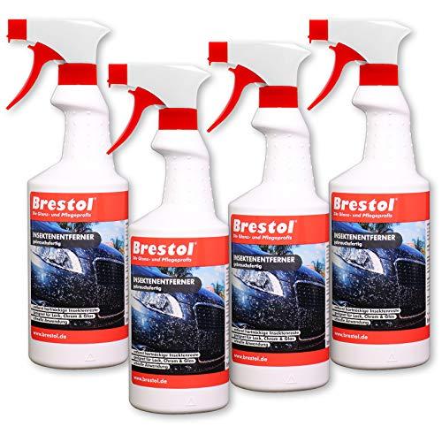 Brestol Insektenentferner 4X 750 ml gebrauchsfertig - Insektenlöser Polycarbonat geeigneter Insektenreiniger Vogelkotentferner Spezialreiniger alkalisch