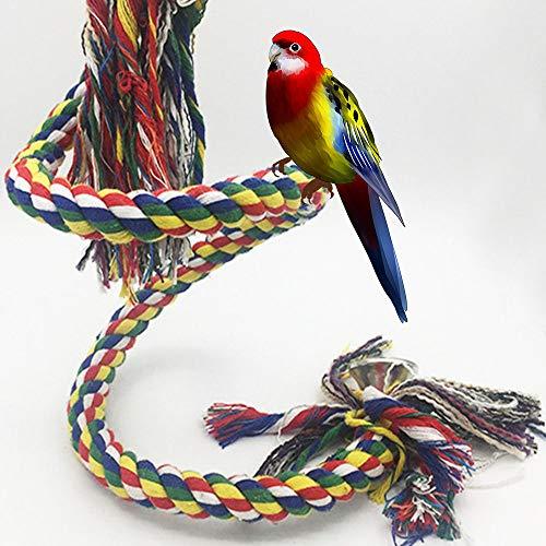 Zunbo 1 x juguete colgante flexible para pájaros, hecho de cuerda para loros, 1 m, juguete con espiral para columpio para loro, multicolor