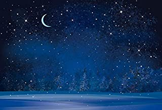 Yeele 10x8ft Winter Night Snowfall Snowflake Photography Backdrops Starry Sky Moon Blurry Fir Trees Pine Forest Background Merry Christmas Happy New Year Party Banner Decoration Studio Props