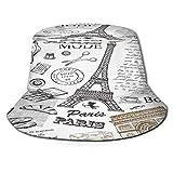 fudin Sombrero de Pescador Unisex Conjunto de Dibujo a Mano de la Torre Eiffel de París Plegable De Sol/UV Gorra Protección para Playa Viaje Senderismo Camping