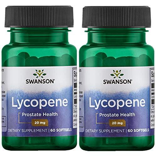 Swanson Lycopene Supplement, Prostate Health Supplement 20 mg, 60 Softgels (2 Pack)