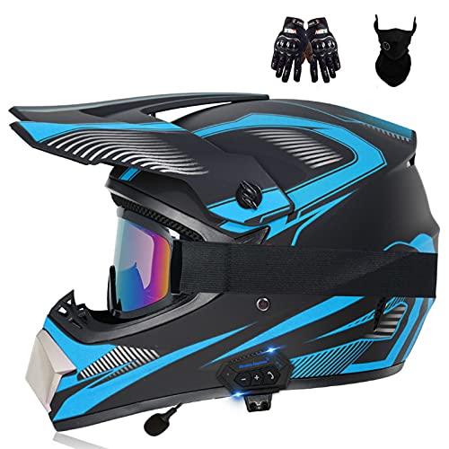 HVW Casco de Motocross con Bluetooth, Casco Cruzado de Cara Completa para Adultos y niños con Gafas/Guantes/máscara Enduro Downhill ATV Crash Hombres Mujeres Casco Aprobado por Dot,C,M54to55cm