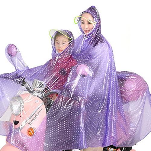 A-Generic Impermeable Doble Coche Motocicleta batería Coche Bicicleta Femenino Adulto Montando Madre y niño Engrosamiento Cubierta Poncho-Frente Infantil-Roland púrpura