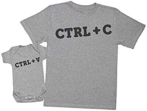 Zarlivia Clothing Ctrl C and Ctrl V - Regalo para Padres y bebés en un Cuerpo para bebés y una Camiseta de Hombre a Juego - Gris - Large & 0-3 Meses