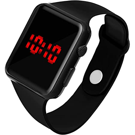 HAVELOCK New Generation Digital Square Black Dial Day Date Calendar Red LED Watch for Boys, Girls & Kids