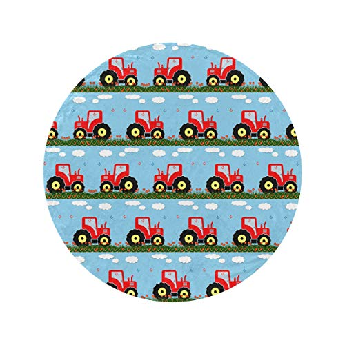 Round Cartoon Animation Retro Toy Tractor Throw Blankets For Couch Soft and Cozy Outdoor Blanket Circle Fur Blanket Blankets & Throws For Home Bed Couch Travel(47in/60in)