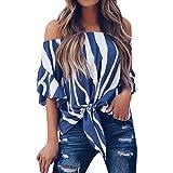 YKA Word Collar Shirt Women 2018 New Strap Strapless Short-Sleeved Chiffon Shirt (Blue, XL)