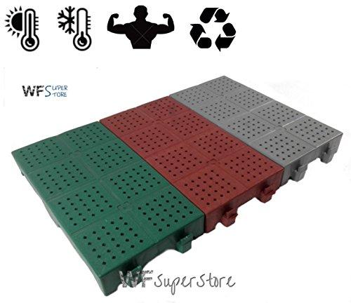 WUEFFE S.R.L. Piastrella in plastica 40x20h5 - mattonella Forata drenante Giardino Campeggio (Verde)
