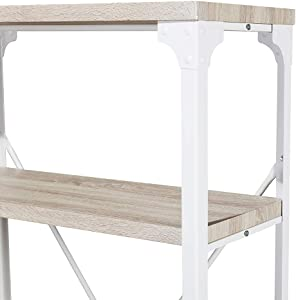 Homissue 4-Tier Modern Industrial White Bookshelf, Display Storage Rack for Living Room,