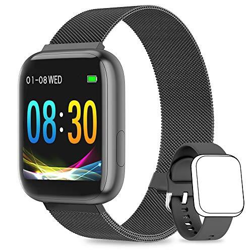 WWDOLL Smartwatch, Orologio Fitness Tracker Impermeabile da 1,4 Pollici Cardiofrequenzimetro da Polso Pressione Sanguigna Contapassi Uomo Donna Smart Watch Compatibile con Android iOS - Nero